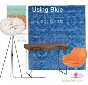 using blue in writing space