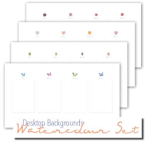 Desktop wallpaper organiser watercolour set