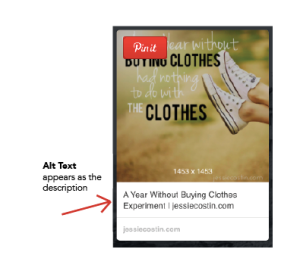 Alt Text appears as the description on Pinterest | jessiecostin.com